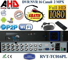 DVR 16 CANALI IBRIDO 2 mega pixel MPX legge chiavette 3G doppio HARD DISK