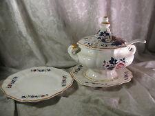 Vintage Royal Sealy Japan Soup Tureen 2 Plates Ladle Floral Motif