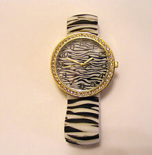GENEVA BLACK AND WHITE ZEBRA STRIPED  DESIGN  STRETCH BAND WATCH  RHINESTONES