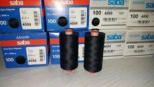 THREAD AMANN SABA 100, 100% POLYESTER, 1000m/spool,10 spools, color: 4000 Black