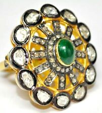 Handmade Emerald Diamond Polki Victorian 925 Silver Vintage Wedding Gift Ring