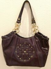 New Solina Purple Leather Shoulder Bag with Gold Accents. Gorgeous bag!