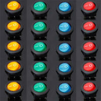 20pcs 12V LED Dot Light Car Auto Boat Round Rocker ON/OFF Toggle SPST Switch