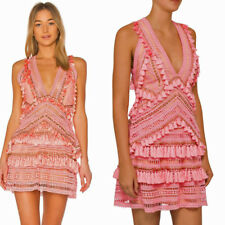 THURLEY COCKTAIL DRESS FOXTROT DESIGNER CROCHET MINI FRILL RUFFLES PINK  14