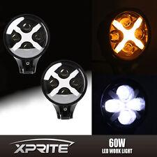 """2x Xprite 6"""" 60W Round LED Spot Light 10W Amber X DRL Turn Signal Offroad Jeep"""