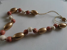 FUNKY CHUNKY WOOD MULTI COLOUR gold beige cream BEAD on GOLD CORD NECKLACE new