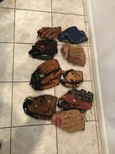 Lot of 8 Adult & Youth Baseball Gloves Rawlings Wilson & More