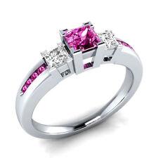 Certified 3.20Ct Pink Princess Cut Diamond Wedding Antique Ring 14K White Gold