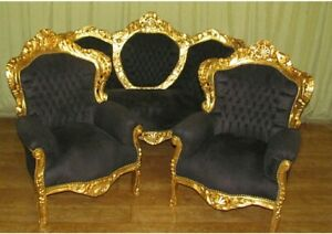 SET BAROQUE STYLE SOFA SET - SOFA + TWO ARMCHAIRS - GOLD / BLACK #MB10
