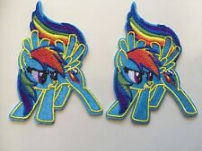 """2pcs My Little Pony Rainbow Dash Embroidered Iron/Sew ON Patches (2.0"""" X 3.75"""")"""