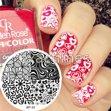 BORN PRETTY Nail Art Stamping Plate Heart Leave Texture Image Template  #50