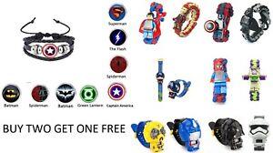 Custom Kids Watch Bracelets Wristbands Toys - Superhero Cartoon - Over 30 styles