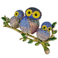 Hot Women Gold Plated Alloy Enamel Leaves Blue Rhinestone Owl Brooch Pin Jewelry