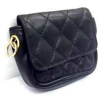 ADRIEN ARPEL Quilted Black Gold Hardware Wallet Make-Up Clutch Money Never Used