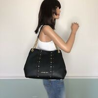 NEW! MICHAEL KORS Leather Studded Carryall Shoulder Bag Purse Black