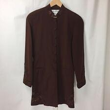 Vintage VTG DIANE VON FURSTENBERG Brown Silk Embellished Blazer Coat Sz 6