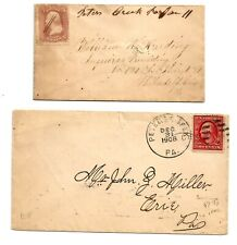Two Peters Creek, Pa., Lancaster Co. covers, one manuscript, one 1908