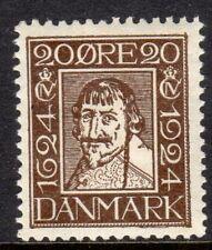 Denmark  Scott # 173 VF Unused 1924 10 Ore Brown King Christian IV