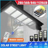 900W-3600W 280-1120 LED Solar Street Light PIR Motion Sensor Wall Lamp + Remote