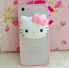For iPhone SE / 5S - HARD RUBBER TPU GUMMY CASE COVER PINK CLEAR 3D HELLO KITTY