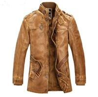 Chic Men Winter Thick Leather Fleece Outwears Motorcycle Trench Coat Jacket D369