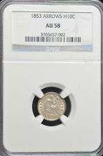 1853 Seated Half Dime, AU-58 NGC FREE SHPPING!!!!