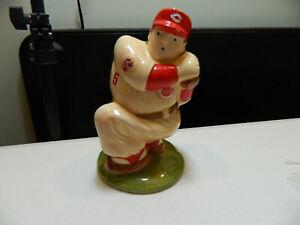 1992 Johnny Bench Ceramic Figural Baseball Bank Artmark Cincinnati Reds
