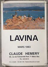 Affiche EXPO LAVINA Claude Hémery PLAGE Vacances 1983
