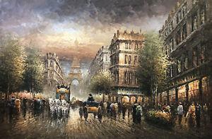 Eiffel Tower,Vintage Paris Street, Original Oil Painting, 61 X 91cm
