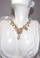 Bib Necklace Pink Enamel Flower Rhinestone Crystal Pearl Gold Charms  3C 25