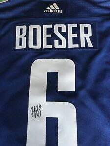 BROCK BOESER Vancouver Canucks SIGNED Autograph Authentic JERSEY Size 50 Adidas