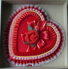 Lg. Empty Valentine's Day Chocolate Heart Box Red Rose & Lace/Ribbons Cardboard