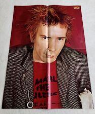 Sex Pistols 1978 Johnny Rotten Swedish Poster Magazine 1970s Vintage Rare