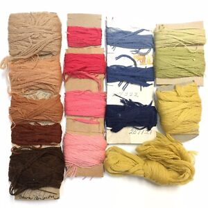 Vintage Wool Crewel Embroidery Needlepoint Yarn Lot Fawn Browns Pink Yellow Blue