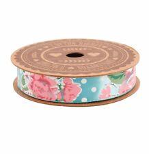 Shabby Chic Vintage Blu Floreale a Pois Rosa Nastro Di Raso 5m Craft Regalo Wrap