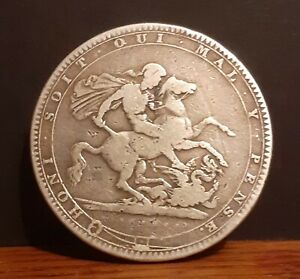 1819 UK United Kingdom King George 3rd .925 Silver 5/-d One Crown Coin