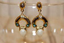 Ohrstecker NEU Ohrringe gold Grün Perle Nickel Frei elegant Strass Hochzeit