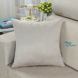 CaliTime Super Soft Faux Suede Solid Cushion Covers Pillows Shells 18x18 Inches