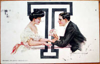 1909 Howard Chandler Christy/Artist-Signed Postcard: Lovers Playing Cards