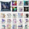 Cotton Linen Watercolor Unicorn Sofa Cushion Cover Throw Pillow Case Home Decor