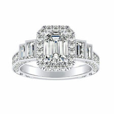 Diamond Engagement Ring 14K White Gold 2.80 Ct Size 5 Emerald Cut Solitaire