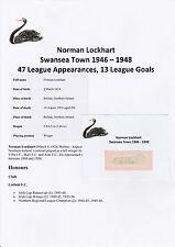 Norman Lockhart Swansea Città 1946-1948 RARA Originale Firmato a Mano Taglio/Card