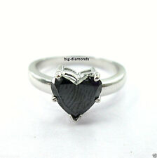 1.00CTS Big Heart Shape Black Diamond Solitaire Diamond Ring 925 Sterling Silver