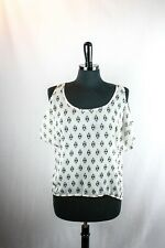 One Clothing Sheer Top White Black Graphic Print S