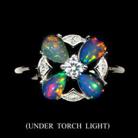 Unheated Fire Opal Rainbow Full Flash 6x4mm White Cz 925 Sterling Silver Ring