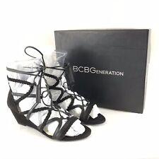BCBGeneration Womens Gladiator Sandals Wedge Veeta Strappy Black Sexy Size 8.5W