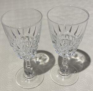 2 x Crystal Cut Glass Wine Glasses