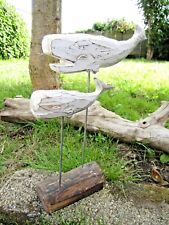 More details for fair trade hand carved made wooden whale and calf sea marine sculpture ornament