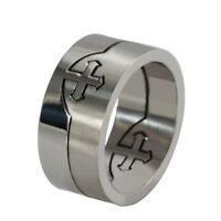 Stainless Steel Separable Ring Titanium Cross Silver Wedding Band Size 7-12