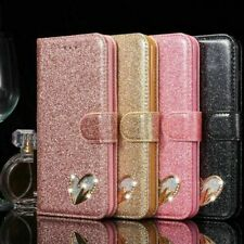 Leather Fashion Bling Heart Sign Wallet Glitter Book Case Cover For Mobile Phone